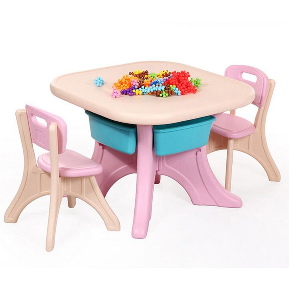 Tdogs Baby Desk, Learning Tables and Chairs Set, Table Combinations, Children's Plastic Home Desks and Chairs (Pink)