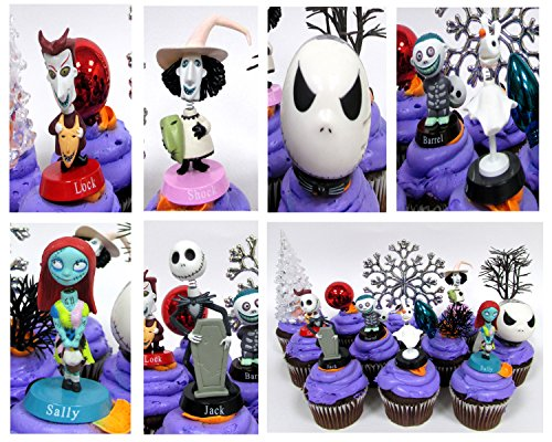 Nightmare Before Christmas 10 Piece Deluxe Cupcake Topper Set Featuring Zero, Barrel, Lock, Shock, Sally, Jack Skellington and Other Decorative Themed Accessories - Cake Topper Figures Range from 2