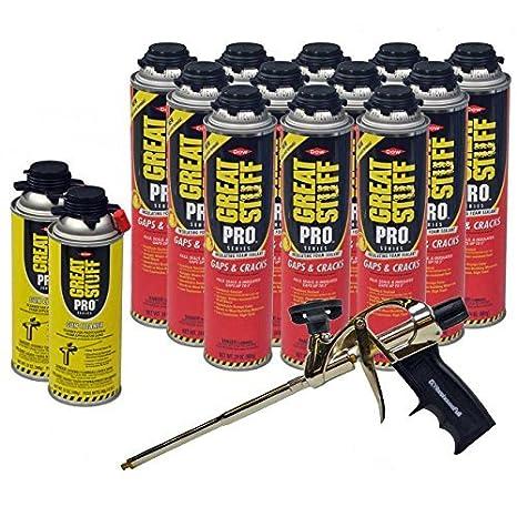 Dow Great stuff pro huecos y grietas 24 oz de espuma (12) + Pro pistola de espuma (1) + Dow Great stuff pro limpiador de pistola de espuma (2): Amazon.es: ...