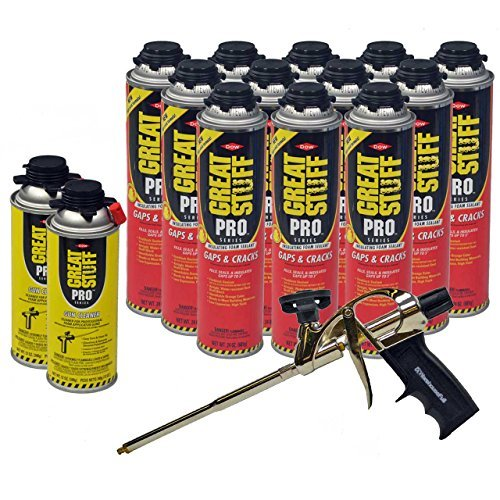 Dow Great Stuff Pro Gaps and Cracks 24 Ounce Foam (12),  AWF Pro Foam Gun (1) and Dow Great Stuff Pro Foam Gun Cleaner (2) ()