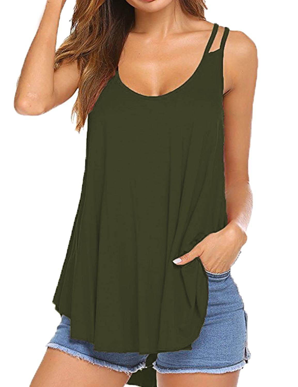 316dd0cec5840b Sechico Women s Pleated Flowy Tank Top Spaghetti Strap Loose Casual Blouse  at Amazon Women s Clothing store