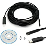 Endoscope Inspection Borescope Snake Camera JINGLESZCN USB Waterproof 7mm Dia 2m/5m/7m/