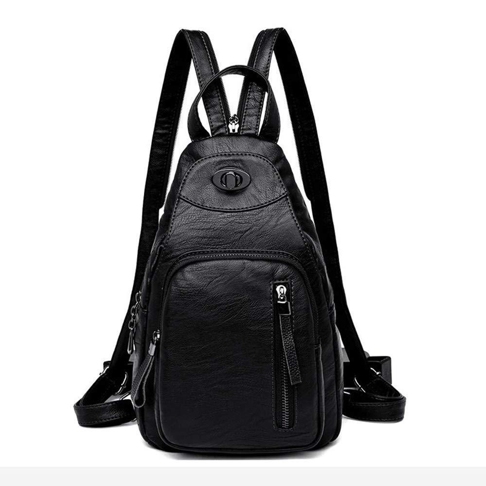 Black DYR Backpack Lady Handbag Student Bag Large pacity Outdoor Travel Bag Casual Business Backpack, Black