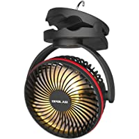 OPOLAR 5000mAh Camping Lantern Clip On Fan with Hanging Hook, 4 Speeds Quiet Wind Personal Fan with 35 Hours Work Time…