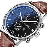 CUENA Mens Analog Quartz Wrist Watch Luxury Sports Fashion Watches Waterproof (Blue Dial)