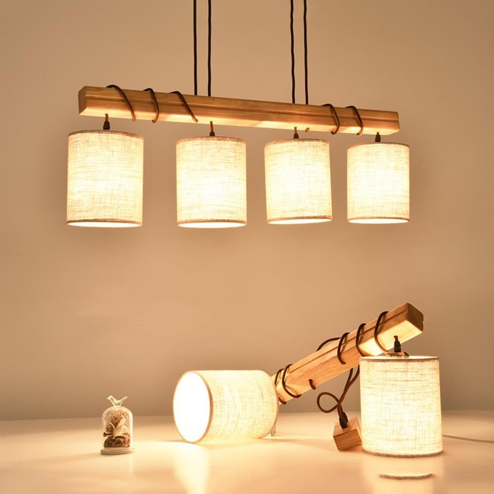 Holz handgefertigt hängende Pendelleuchten Nordic Kreativität Restaurant Kronleuchter LED Pendel Lampe E27 Warm [Energieklasse A ++] , B