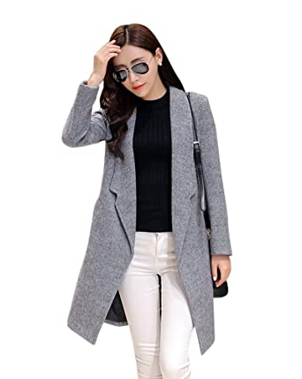 De Laine Femme Laozan Trench Manteau Veste Coat Pour Mélange Longue 7dwHqdr