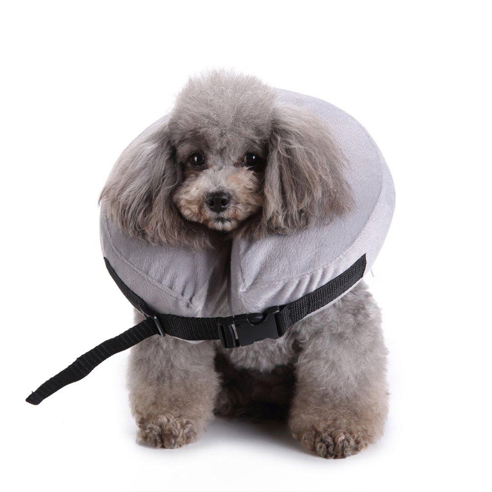 yunt Minerve doux animal col gris Protection col avec fermeture réglable pour chat et petit chien