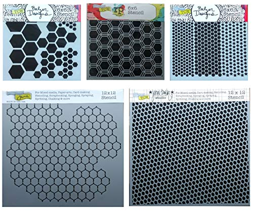 5 Mixed Media Stencils | Hexagon, Honeycomb, Chicken Wire, Fish Net, Punchinella Stencil Set | Templates for Arts, Card Making, Journaling, Scrapbooking | by Crafters Workshop -