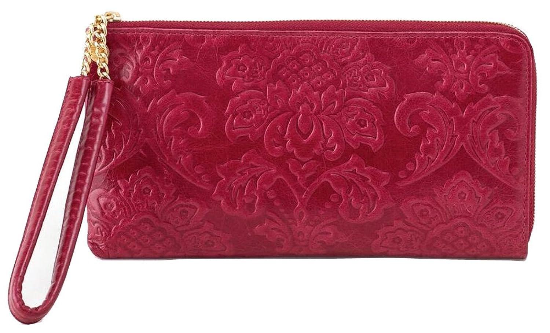 Hobo Handbags Damask Emboss Rylan Clutch - Red Plum