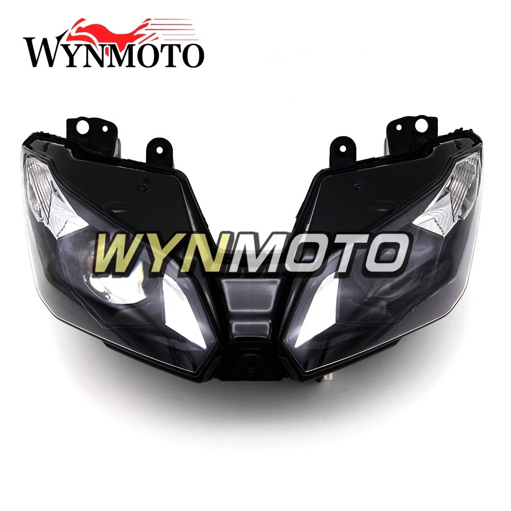 WYNMOTO ABSプラスチックスポーツバイクインジェクションフェアリングヘッドライトヘッドランプ用カワサキZX6R 2013 2014 2015 2016 2017アフターマーケット照明ランプバイクヘッドライト交換ヘッドランプクリア   B07QSHT58T