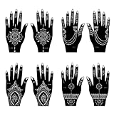 Henna Tattoo Stencil / Temporary Tattoo Temples Set of 8 Sheets,Indian Arabian Tattoo Reusable Stickers Stencils Body Art Designs for Hands (Vintage Collection)
