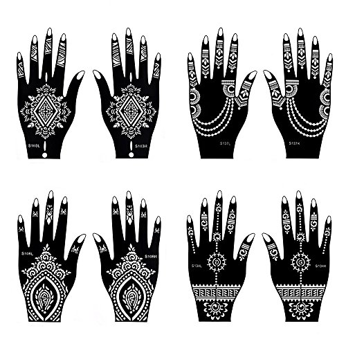 Henna Tattoo Stencil / Temporary Tattoo Temples Set of 8 Sheets,Indian Arabian Tattoo Reusable Stickers Stencils Body Art Designs for Hands (Vintage Collection) from Diva Woo