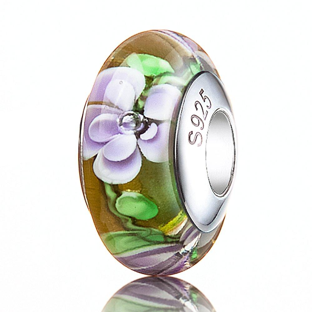 ATHENAIE Genuine Murano Glass 925 Silver Core Midnight Flower Charm Bead
