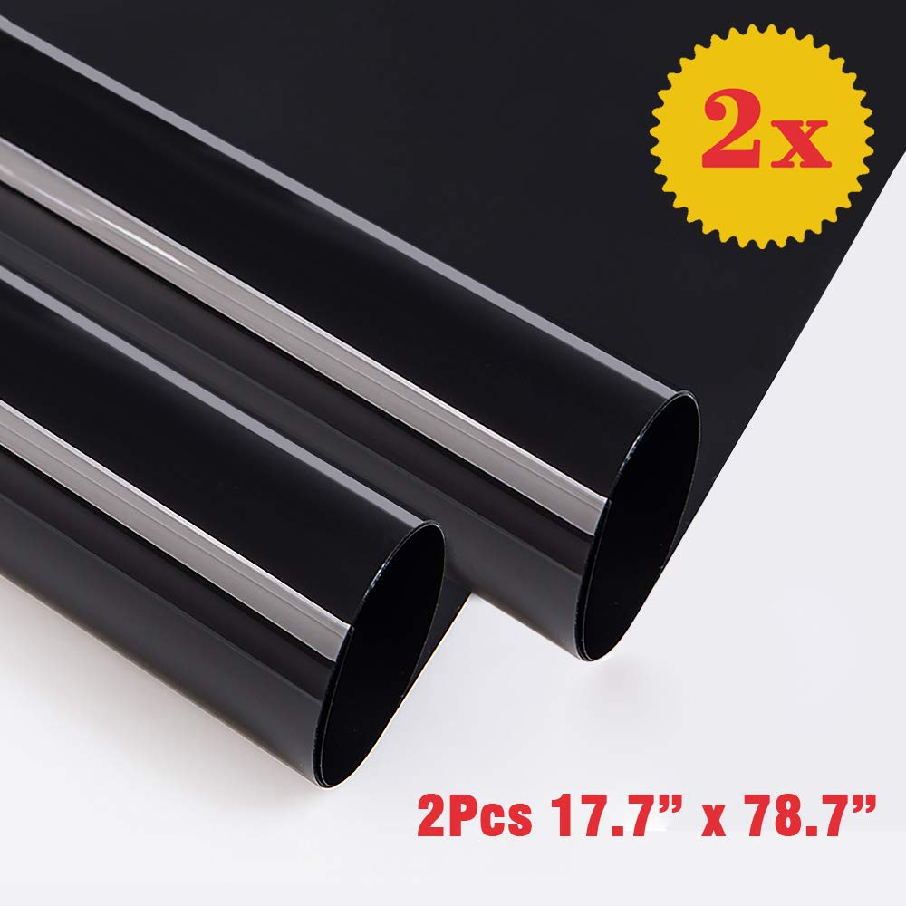 """Blackout Window Film Heat Rejection Baby Room and Day Sleeping Nap Time Night Working Oubay Non Toxic Smell Privacy Window Film Adhesive Residential DIY,100/% Light Blocking Matte Black, 17.7/""""x 78.7/"""""""
