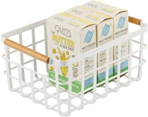 mDesign Farmhouse Decor Metal Wire Food Organizer Storage Bin Baskets with Bamboo Handles for Kitchen Cabinets/Pantry - Store Fruit, Coffee, Spices, Pasta, Baking Supplies, Soups - Matte White/Bamboo