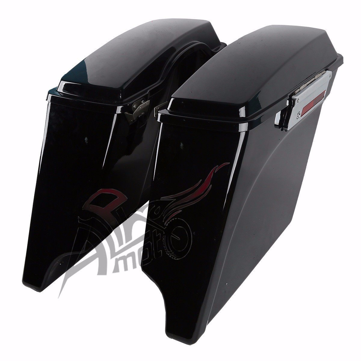 New 5'' Vivid Black Stretched Extended Saddlebags Saddlebag with Lid Latch Keys For Harley Touring FLH FLT Electra Glide Road king Ultra Street 1994 - 2013 by alphamoto