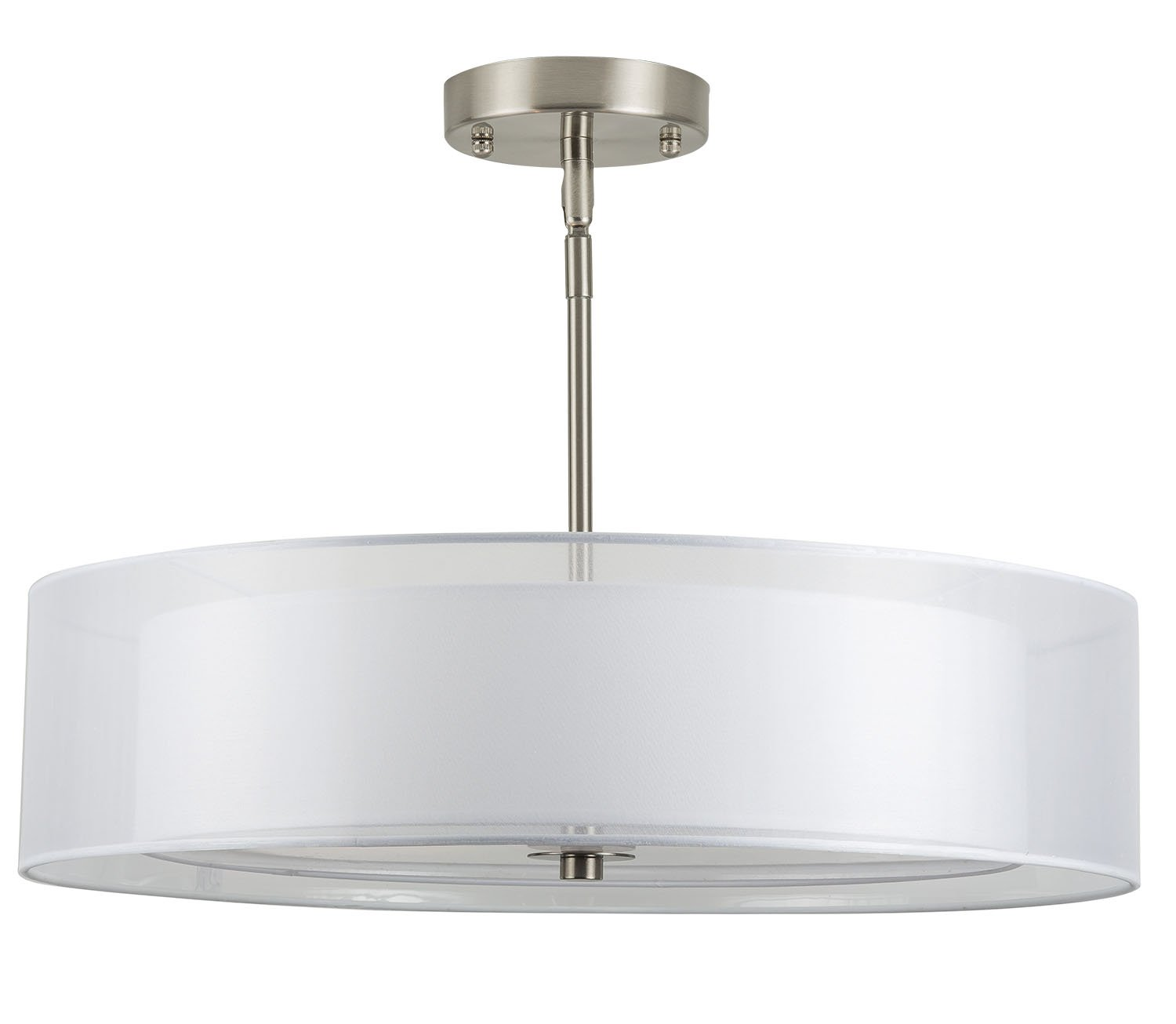 Grazia 20-Inch Three-Light Double Drum Chandelier, Convertible Ceiling Light Fixture, Brushed Nickel with a White Fabric Shade - Linea di Liara LL-P117-BN