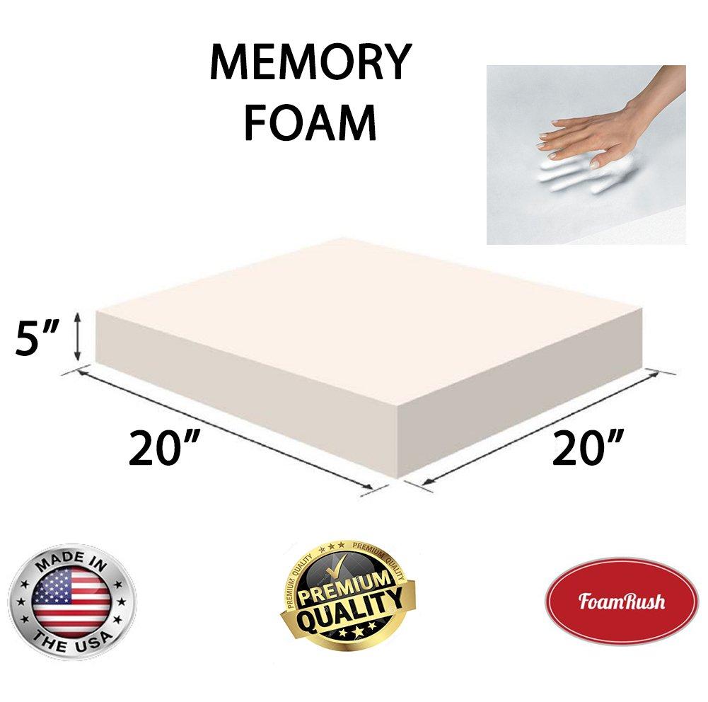 FoamRush 3\' x 20\' x 20\' Memory Foam Seat Cushion Made in USA