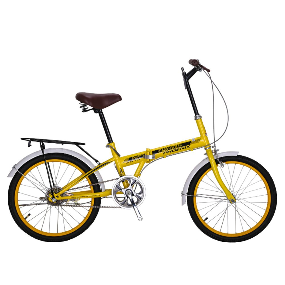 女性 折りたたみ自転車, 大人 折りたたみ自転車 シングル スピード 市 学生 男性と女性の自転車 折りたたみ自転車 B07CZG4LBH黄 20inch