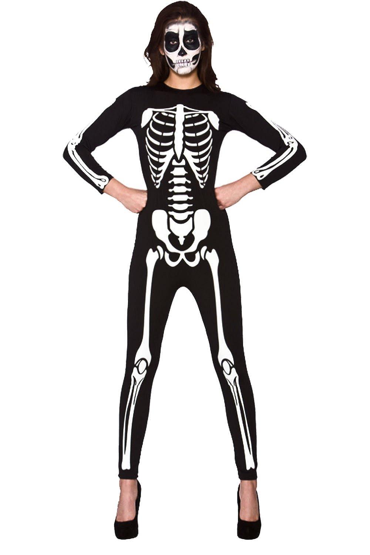 Skeleton Leotard Ladies Fancy Dress Halloween Womens Adult Costume Accessory New