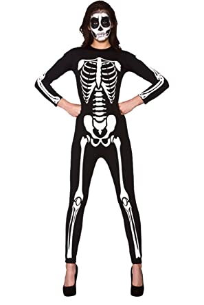 30ee61861fe2 Fashion   Freedom F F Womens Ladies Halloween Skeleton Print Top Bodysuit  Jumpsuit Fancy Dress Party Costumes