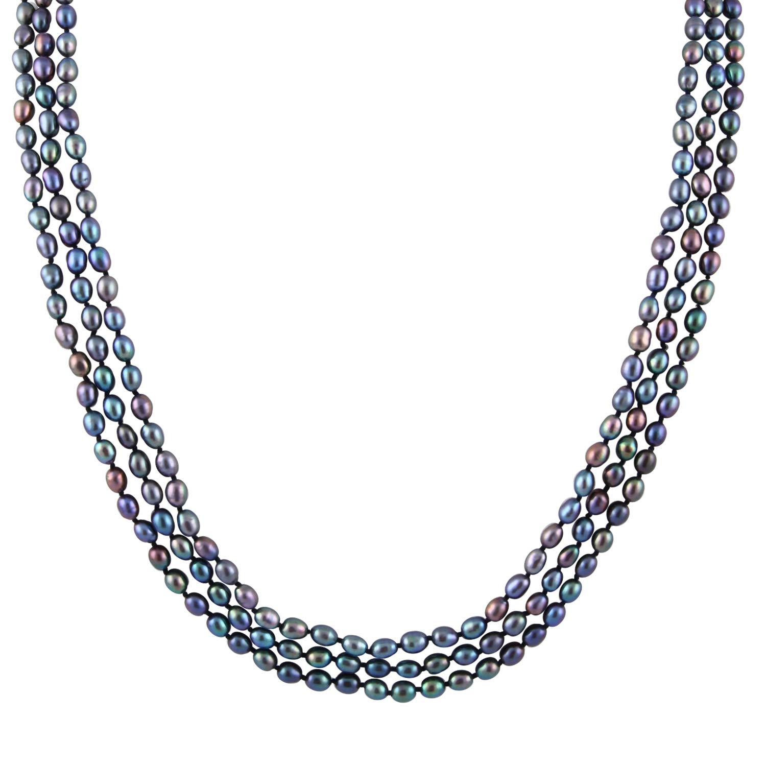 Handpicked A Quality Black Freshwater Cultured Pearl Strand Endless 72'' Necklace by Splendid Pearls