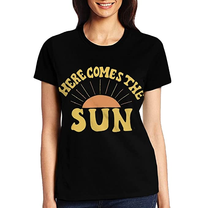 2175adbb3d05 Amazon.com  BLACKY Here Comes The Sun T Shirts Short Sleeve Tee Printed  Casual Tops for Women  Clothing