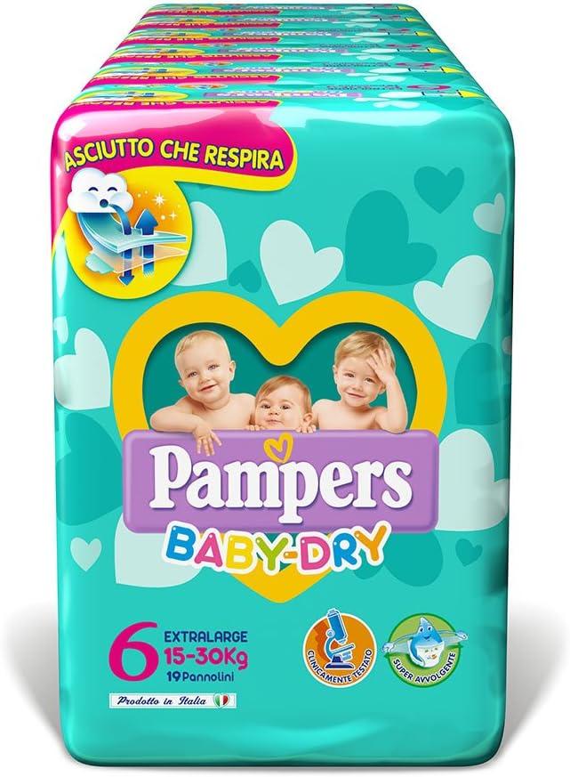 Pampers Baby Dry Pannolini Extralarge, Taglia 6 (15-30 kg), 6 Confezioni da 19 (114 Pannolini)
