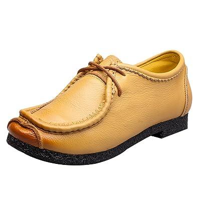 Vogstyle Damen Vintage Schön Weich Leder Low top Schnürschuhe Schuhe