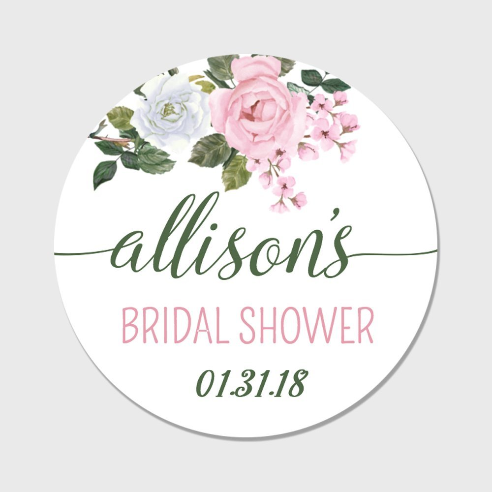 dcfacc51d3dd Amazon.com  20 Personalized Rose Themed Bridal Shower Favor Stickers -  Customizable Floral Favor Labels (FL103)  Toys   Games