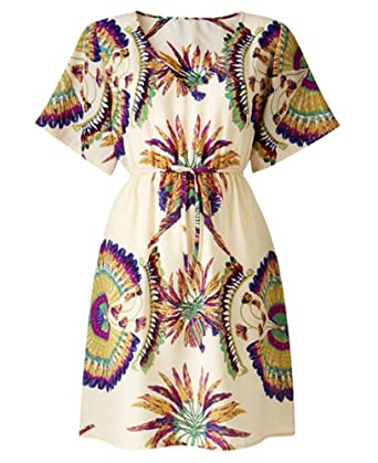 40d8f9c6f3c4 Cream Purple Blue Yellow Feather Print Summer Tunic Dress Beach Cover Up  Size 16 to Plus 24 (18)  Amazon.co.uk  Clothing