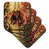 3dRose Heike Köhnen Design Steampunk - Steampunk, steampunk elephant in a jungle - set of 8 Coasters - Soft (cst_264552_2)