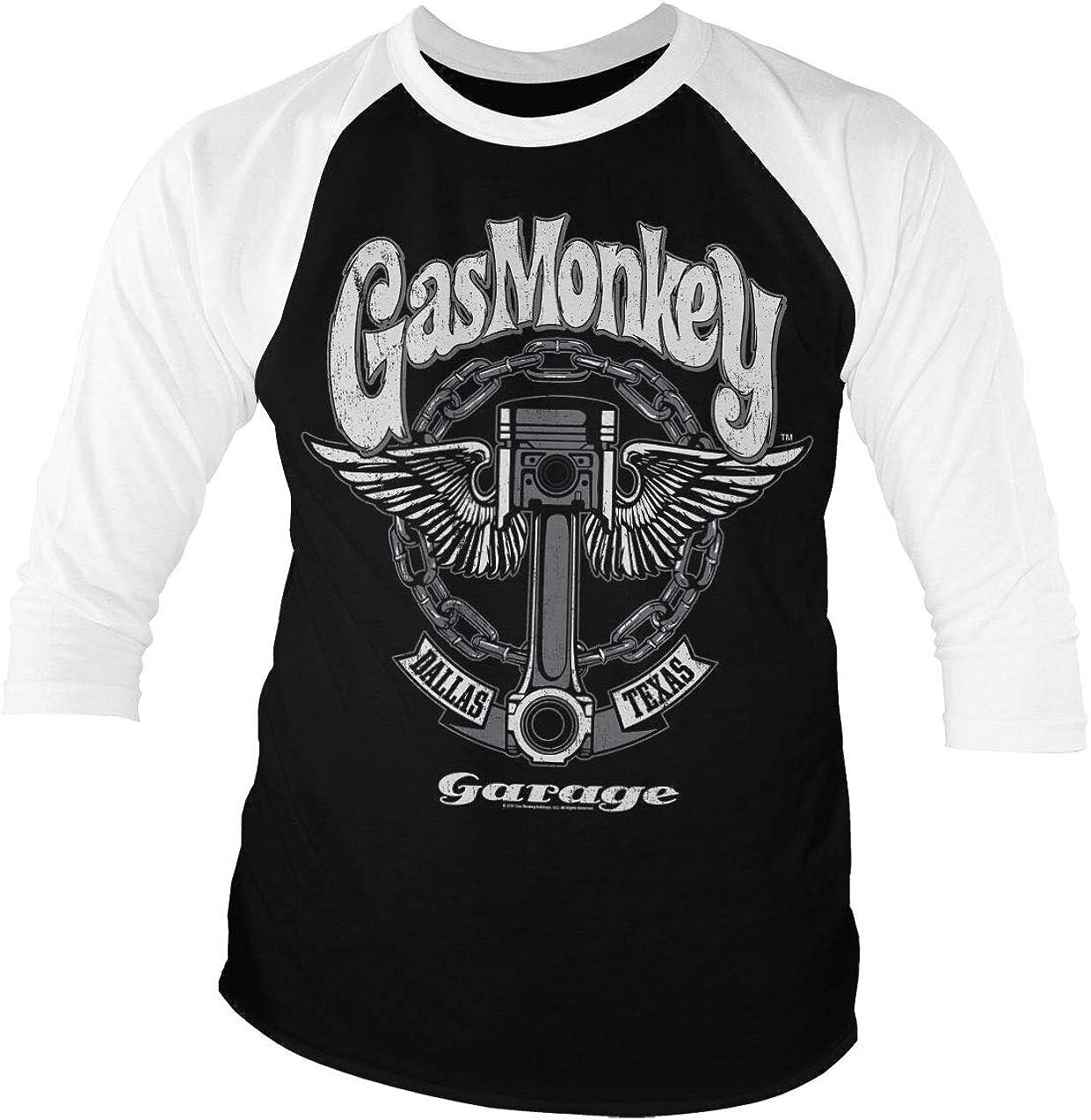 Gas Monkey Garage Licenciado Oficialmente Big Piston Baseball Camisa de Manga 3/4 para Hombre (Negro-Blanco): Amazon.es: Ropa y accesorios