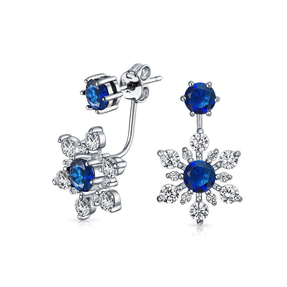 .925 Sterling Silver Blue Glass CZ Snowflake Flower Front Back Earrings