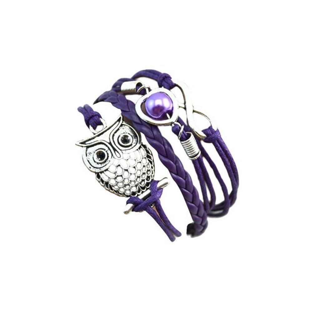 JSPOYOU Clearance! Bracelets Women Infinity Owl Pearl Friendship Multilayer Charm Leather Bracelets Gift (Purple)