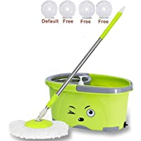 Shivonic® Mop Bucket Magic Spin Mop Bucket Double Drive Hand Pressure with 4 Microfiber Mop Head & 4 Color May Vary