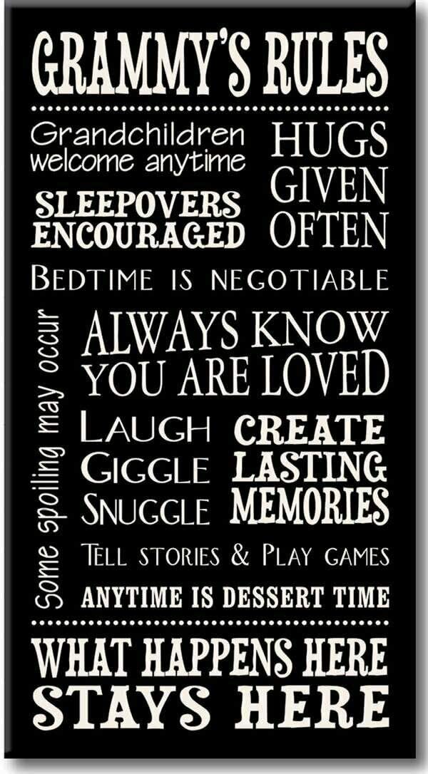 FDerks Wall Plaque 8X12 Inch Grammy's Rules- Decorative Sign Man Cave Garage Decor Tin Plate