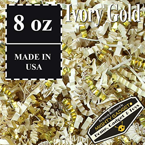 Mighty Gadget (R) 1/2 LB Premium Ivory Gold Metallic Mix Crinkle Cut Paper Shred Filler for Gift Wrapping & Basket Filling