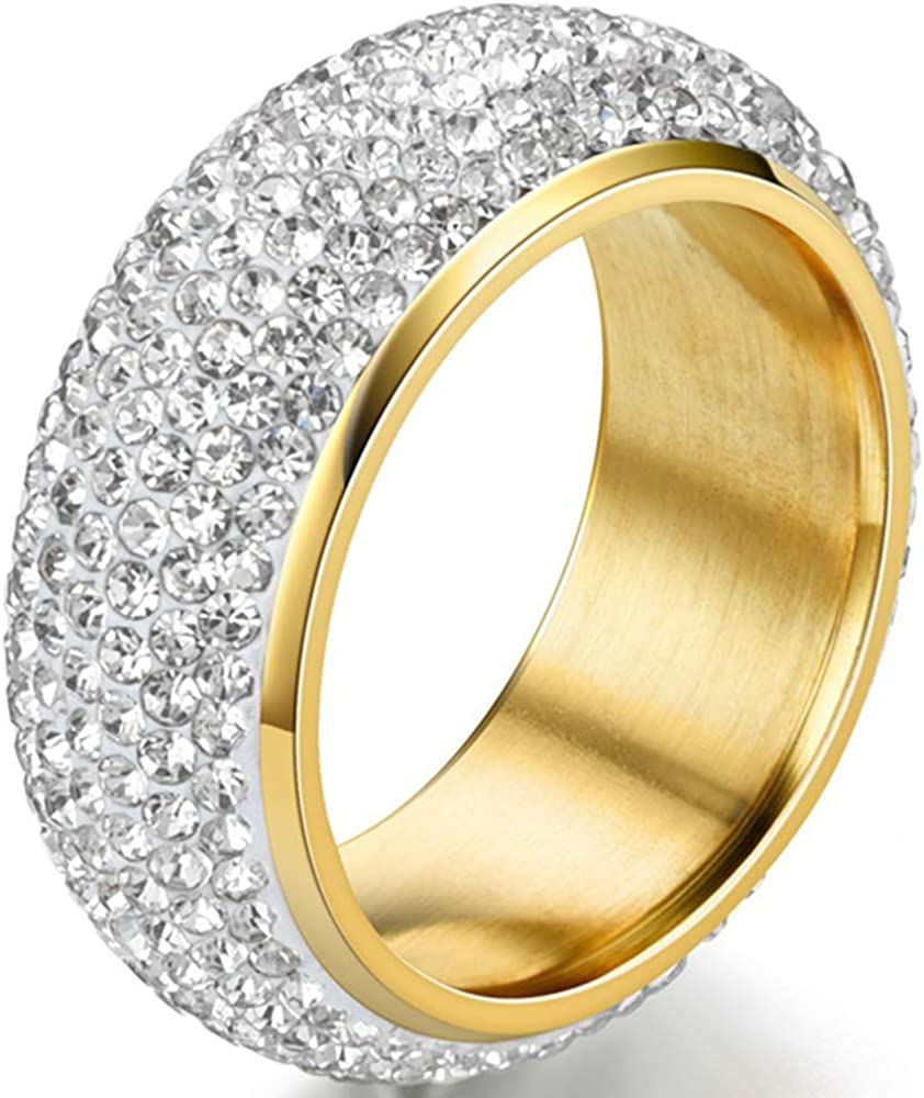 Jude Jewelers 9mm Stainless Steel Dome Style Wedding Eternity Statement Band Ring