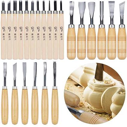 Amazon.com: Juego de 24 cuchillos de madera WAYCOM, juego de ...