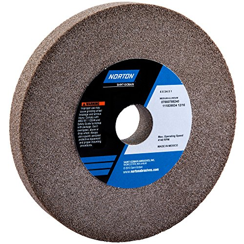 Grinding Wheel, T1, 6x3/4x1, Aluminum Oxide, 60/80G, Gray by Norton Abrasives - St. Gobain by Norton Abrasives - St. Gobain