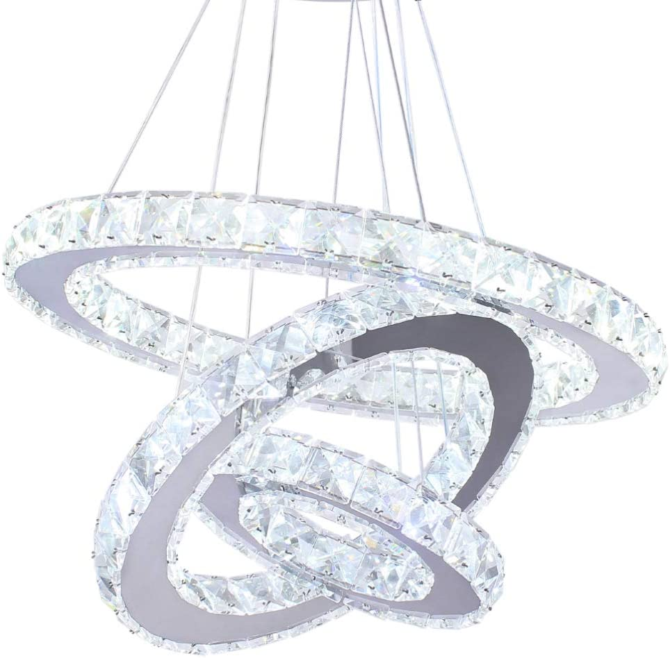 Winretro Modern Crystal Circle Ceiling Pendant Light 3 Rings Crystal Chandeliers Adjustable Stainless Steel for Kitchen Dining Room Hallway ...
