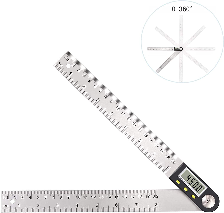 0-200MM 360 Degree Digital Angle Finder Meter Ruler Gauge Protractor 2 In 1