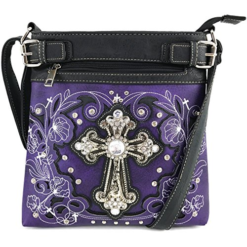 Justin West Cowgirl Western Rhinestone Cross Floral Embroidery Studded Concealed Carry Handbag Purse Trifold Crossbody Messenger Bag Wallet (Purple Busy - Cross Cowgirl