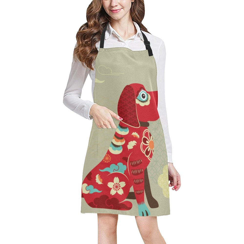 Happy Chinese New Year 2018 Year of the Dog Adjustable Kitchen Chef Bib Apron with Pocket for Cooking, Baking, Crafting, Gardening
