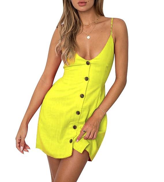 Vestidos de Verano Cortos Mujer Vestido de Diario Cuello en V Botón Corto Casuales Mini Vestidos