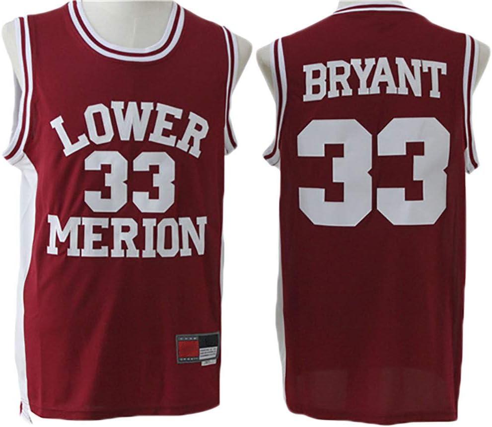 LITBIT Mens Basketball Jersey Lower Merion 33# Kobe Bryant Breathable Quick Drying Sleeveless Sport Vest Top,Red,S 170cm//50~65kg
