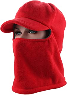 AimdonR Balaclavas Masque de Ski d'hiver en Polaire épais, Double épaisseur, Capuche Chaude pour Hommes et Femmes Orange
