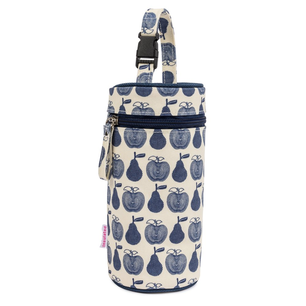 Pink Lining Bottle Holder Navy Apples & Pears